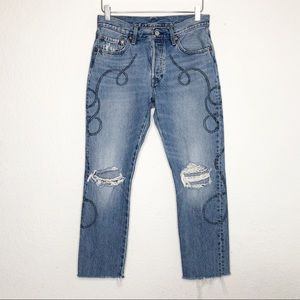 Levi's | 501 Button Fly Distressed Lasso Jeans 27